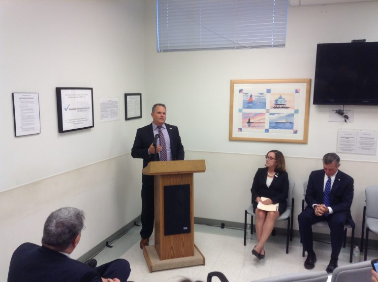 Delaware Insurance Commissioner Trinidad Navarro speaks at an event launching the 2018 ACA enrollment. (Zoë Read/WHYY)