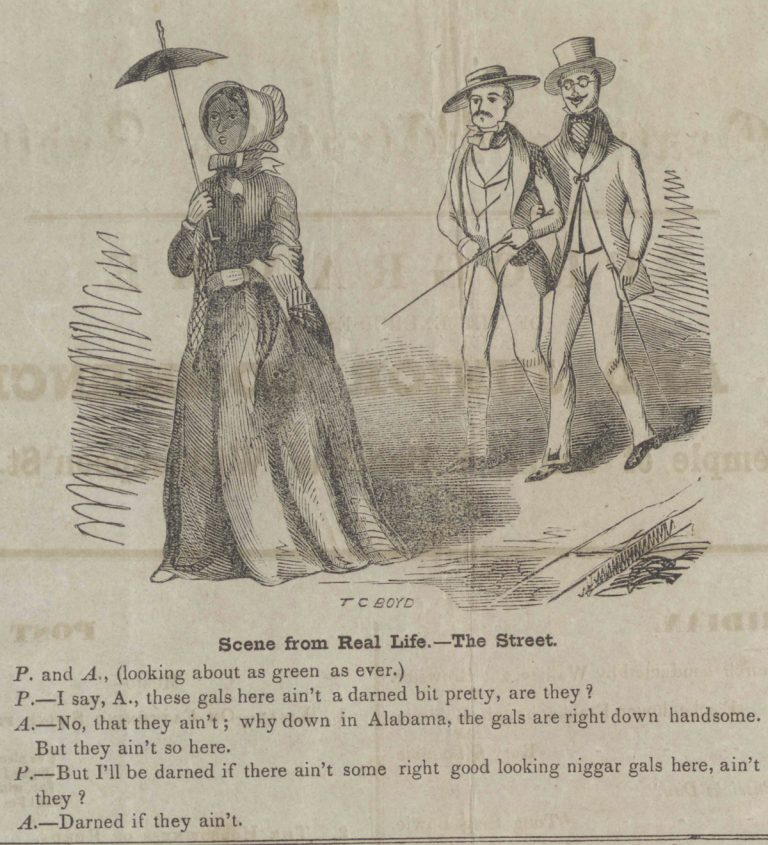 Cartoon from a student newspaper, The Nassau Rake, depicting two white men commenting on the attractiveness of black women in Princeton, June 29, 1853.