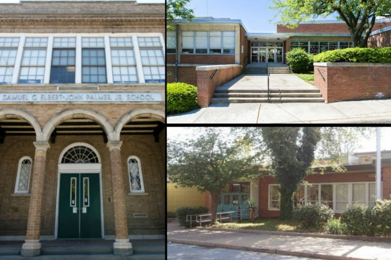 Under a proposal by the Christina School District and the  Carney administration, three schools would be closed and two expanded.  Those slated for possible closure are, clockwise from left, Palmer, Pulaski and Stubbs elementary schools. (Christina School District)