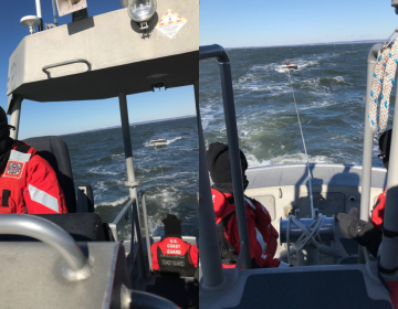 U.S. Coast Guard personnel towing a disabled boat off Sandy Hook last Friday. (Image: U.S. Coast Guard)