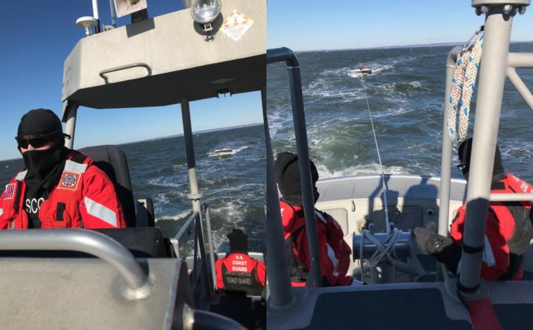 U.S. Coast Guard personnel towing a disabled boat off Sandy Hook last Friday. (Image: U.S. Coast Guard)
