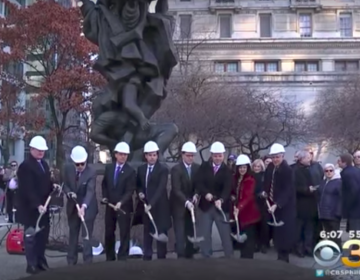 Breaking ground on the Holocaust Memorial plaza