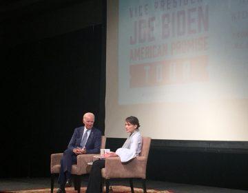 Former Vice President Beau Biden and novelist Lea Carpenter promoted Biden's book Thursday. (Cris Barrish/WHYY)
