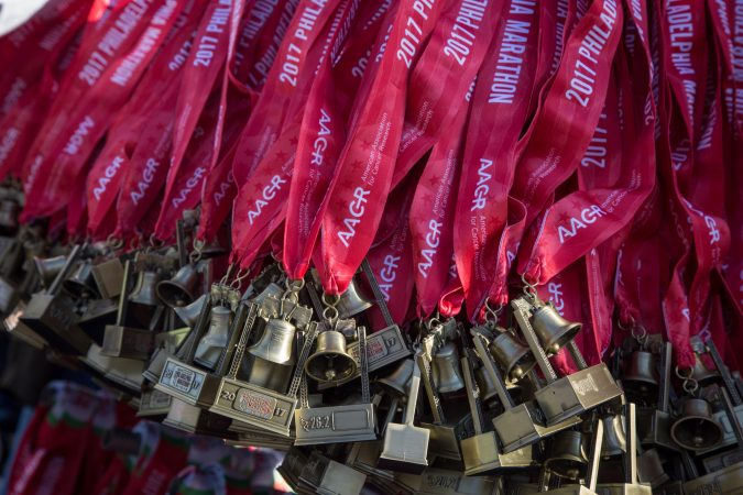 Medals for the finishers of the 23rd annual Philadelphia Marathon on Sunday, November 19th, 2017.