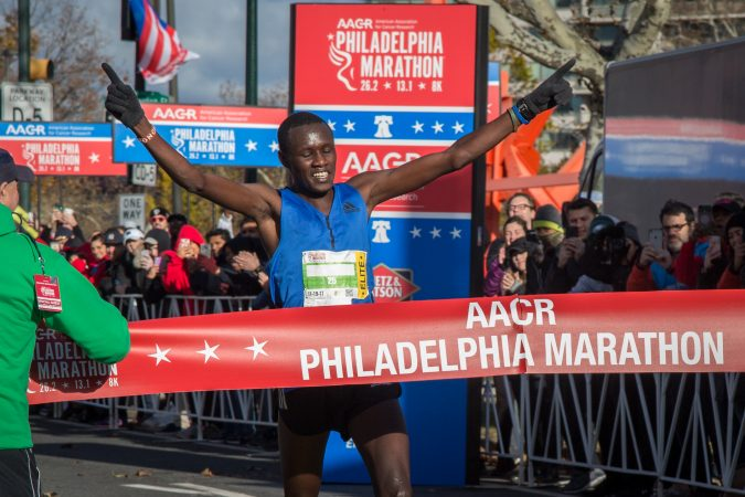Boniface Kogin, 27, wins first place with a time of 2:16:25 at the 23rd annual Philadelphia Marathon on Sunday, November 19th, 2017.