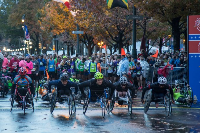 The wheelchair racers begin their course at the 23rd annual Philadelphia Marathon on Sunday November 19th, 2017.