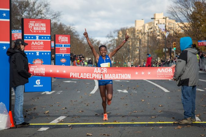 Sarah Kiptoo takes first place for the Women's division with a time of 2:38:14 at the 23rd annual Philadelphia Marathon on Sunday November 19th, 2017.