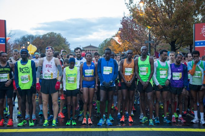 Runners line up at the starting line for the 23rd annual Philadelphia Marathon on Sunday November 19th, 2017.