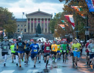 Runners begin their 26.2 miles at the 23rd annual Philadelphia Marathon on Sunday November 19th, 2017.