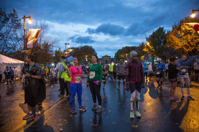 Runners gather by the starting line for the 23rd annual Philadelphia Marathon on Sunday November 19th, 2017.
