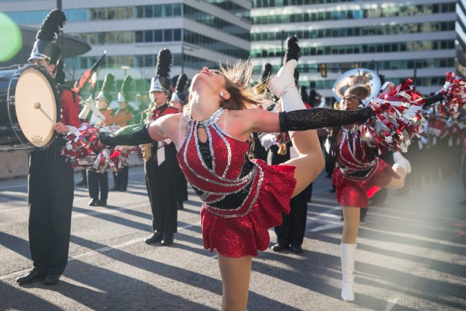 Dancers from Thompson High School in Alabama perform alongside the marching band at the 98th annual Philadelphia Thanksgiving Day Parade, November 23, 2017. (Emily Cohen for WHYY)