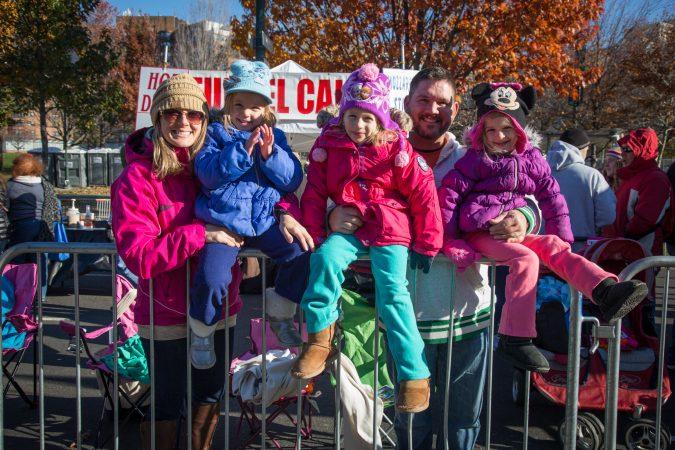 The Hastings family enjoys the 98th annual Philadelphia Thanksgiving Day Parade, November 23, 2017. (Emily Cohen for WHYY)