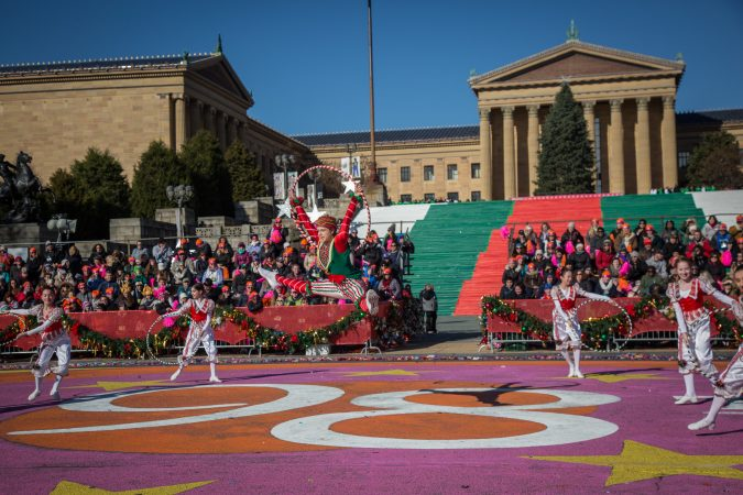 Dancers from the Philadephia Ballet perform a short number during the 6abc broadcast of the 98th annual Philadelphia Thanksgiving Day Parade, November 23, 2017. (Emily Cohen for WHYY)