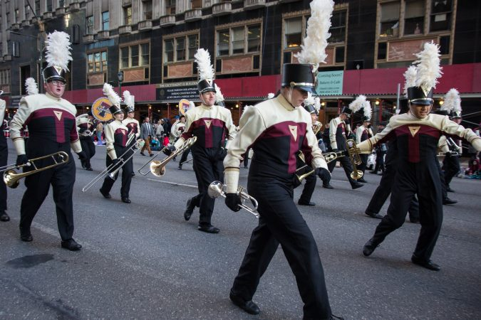 The Turpin Marching Band from Ohio performs in the the 98th annual Philadelphia Thanksgiving Day Parade, November 23, 2017. (Emily Cohen for WHYY)