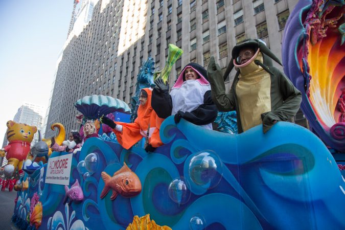 A.C. Moore had their own float in the 98th annual Philadelphia Thanksgiving Day Parade, November 23, 2017. (Emily Cohen for WHYY)
