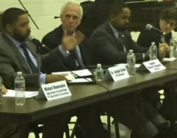 Stewart Greenleaf (third from left) and Sharif Street (fourth from left) held the second of three judiciary hearings on criminal justice reform at Deliverance Evangelistic Church in North Philadelphia. (Annette John-Hall, WHYY)