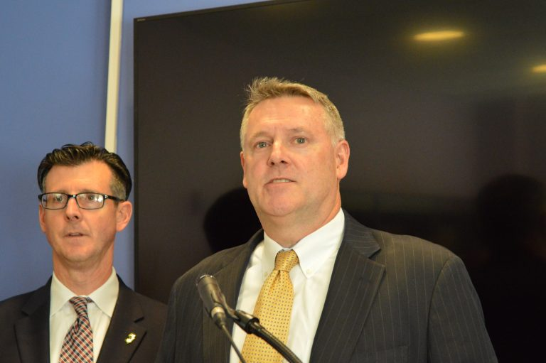 Acting U.S. Attorney William Fitzpatrick (right) and FBI Special Agent in Charge Timothy Gallagher outline charges against former Bordentown Township Police Chief Frank Nucera. (Tom MacDonald, WHYY)