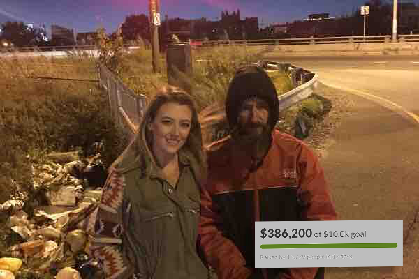 Kate McClure with Johnny Bobbitt Jr. (McClure's GoFundMe page)