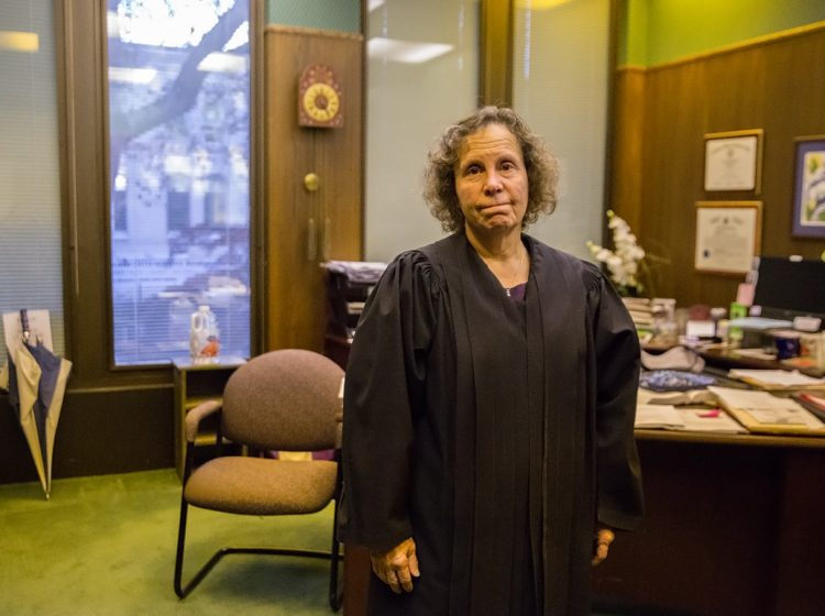 On the front lines of Lycoming County's opioid crisis, Judge Nancy Butts helps people struggling with addiction and recovery during drug court. (Lindsay Lazarski/WHYY)