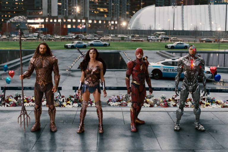 From left: Jason Momoa, Gal Gadot, Ezra Miller, and Ray Fisher in a scene from