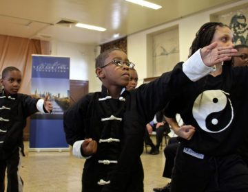 Students at Cecil B. Moore Rec Center during the announcement of a $100 million grant from the William Penn Foundation toward the Rebuild Initiative, November 2016 (Emma Lee/WHYY)