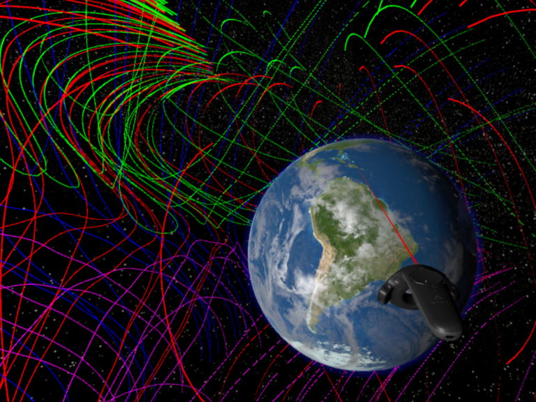 A virtual reality program developed by NASA could help scientists visualize the magnetic fields around the earth. (NASA)