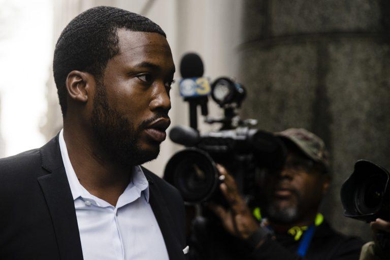 Rapper Meek Mill arrives at the criminal justice center in Philadelphia