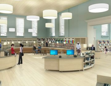 Rendering of Logan Library's new reference desk and entrance atrium (Courtesy of J R Keller)