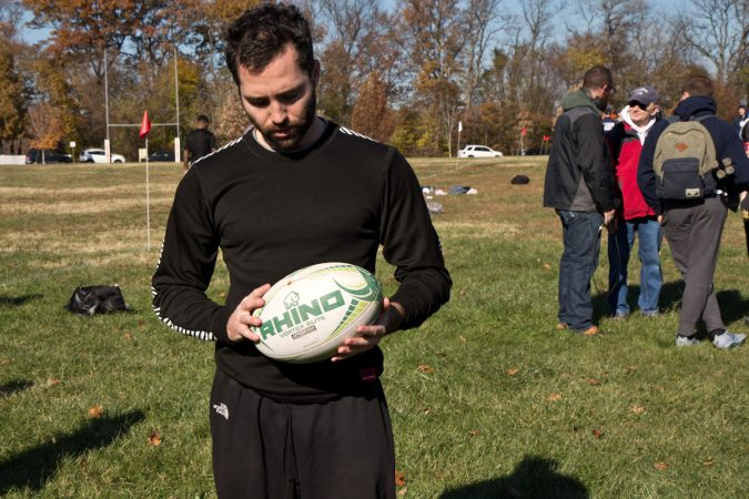 Ryan Gregory remembers his friend and fellow rugby player Josias Sterling at the 9th annual tournament in Sterling's honor. (Kimberly Paynter/WHYY)