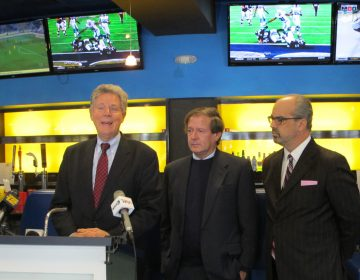 U.S. Rep. Frank Pallone (left) and others are optimistic that New Jersey will win its case for legalized sports betting in the state. (Phil Gregory/WHYY)