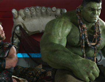 Chris Hemsworth and the Hulk in a scene from,