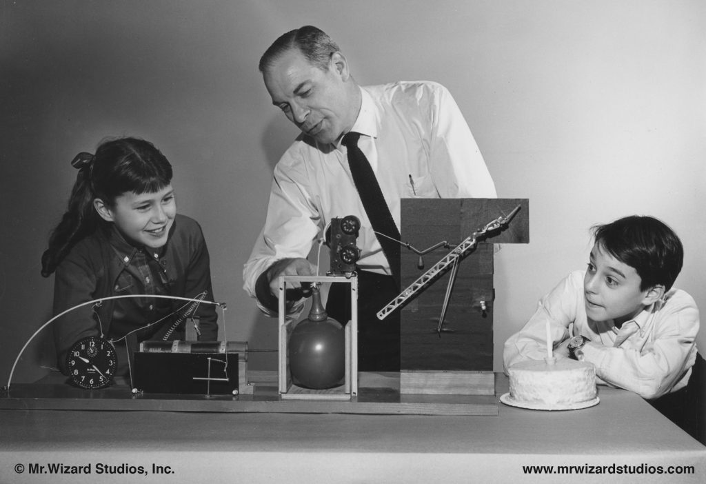 Don Herbert created and starred in Watch Mr. Wizard, a science TV show where he demonstrates experiments for children.