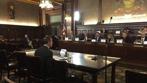 Auditor General Eugene DePasquale shares the findings of his child welfare report with a House committee. (Katie Meyer/WITF)