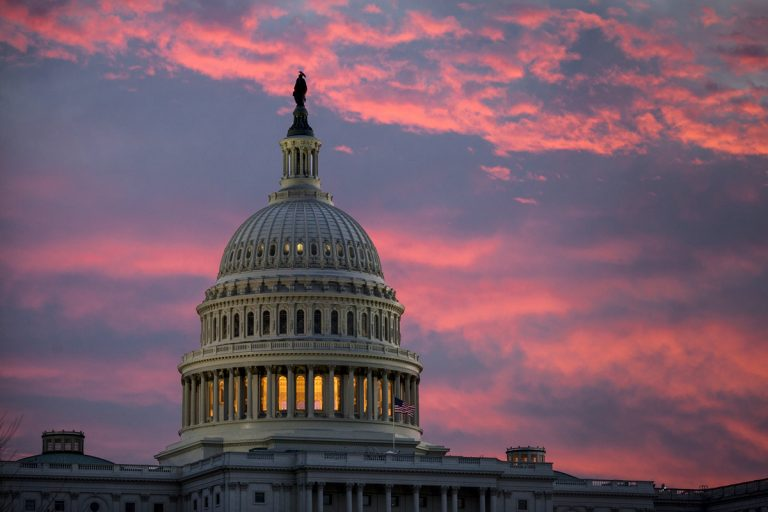 The U.S. Capitol is seen at dawn in Washington