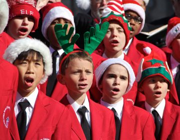 Members of the Philadelphia Boys Choir sing at the opening of the Dilworth Park ice skating rink in 2014.