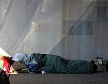 A homeless person takes shelter under an overpass on North 5th Street.
