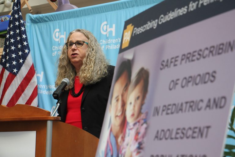 Acting Secretary of Health and Physician General Dr. Rachel Levine announces new safe guidelines for prescribing opioids to children.
