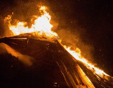 The phoenix catches fire at the 14th Annual Firebird Festival in Phoenixville, Pennsylvania.