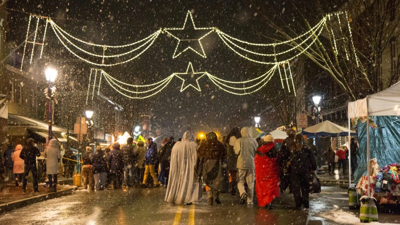 Revelers visit the street festival of the very snowy 14th Annual Firebird Festival in Phoenixville, Pennsylvania. (Emily Cohen for WHYY)