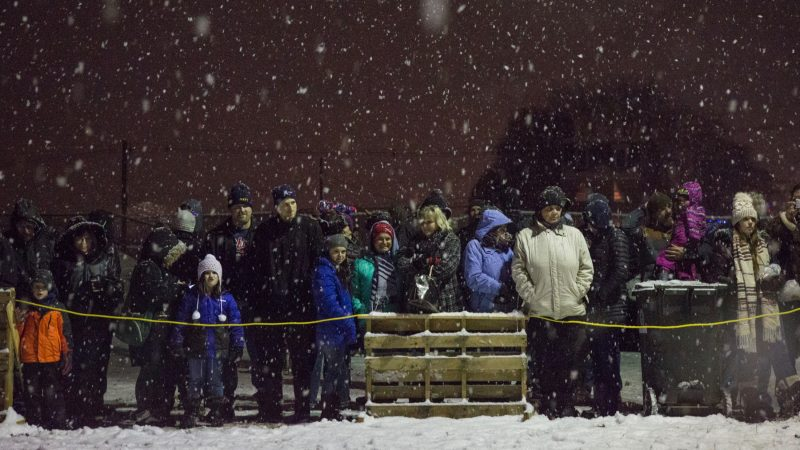 About a thousand spectators gather in the snow to watch the 30-foot-tall wooden phoenix set ablaze at the 14th Annual Firebird Festival in Phoenixville. (Emily Cohen for WHYY)