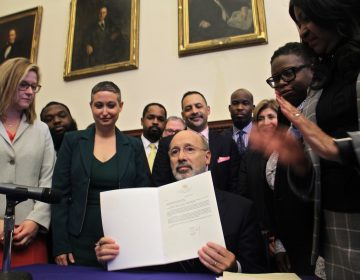 Pennsylvania Gov. Tom Wolf vetoes a bill that would have made abortion illegal at 20 weeks, four weeks earlier than existing law allows. The veto ceremony took place at Philadelphia City Hall.