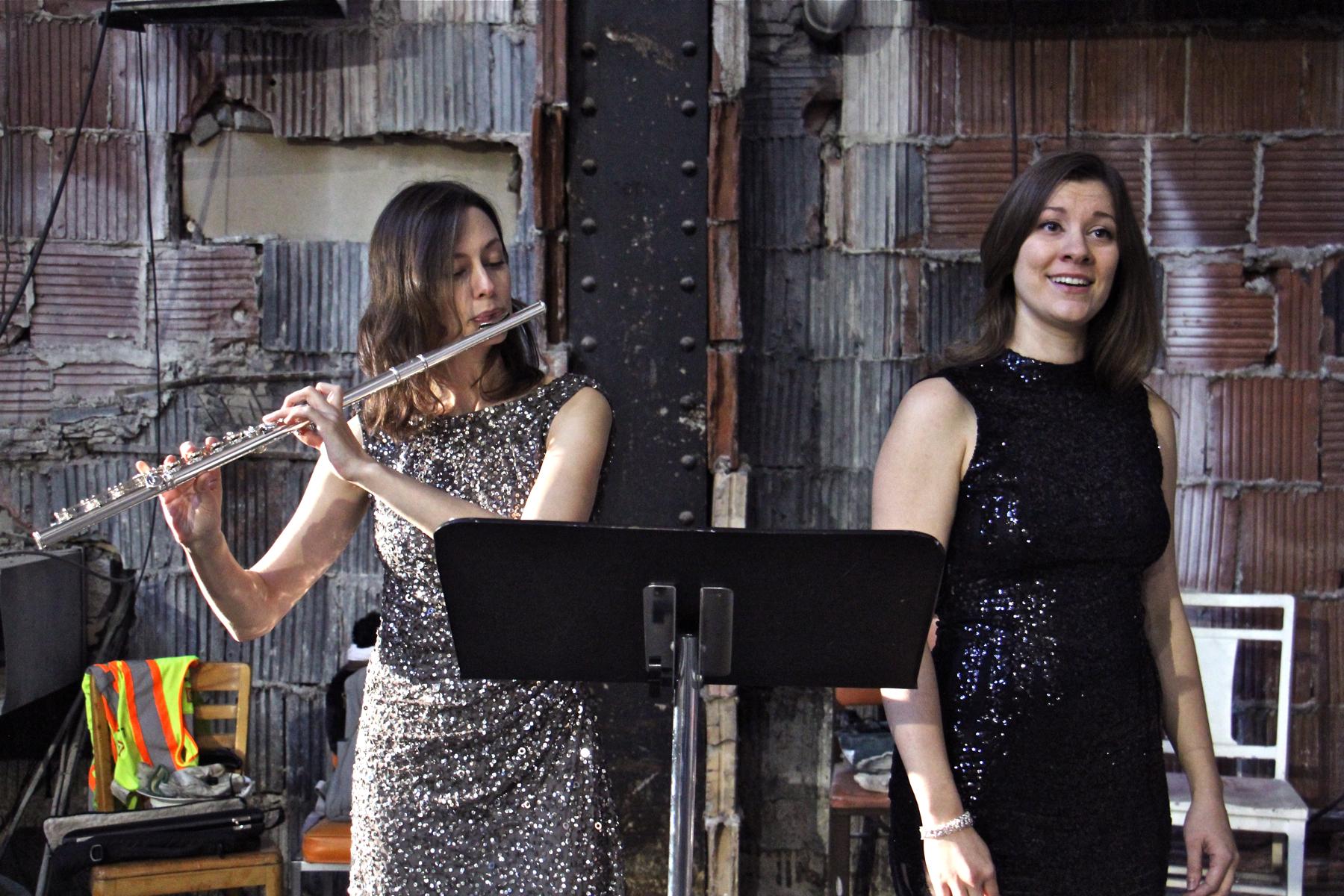 Anna Urrey (left) and Katherine Skovira perform a trio of Irish songs by John Corigliano
