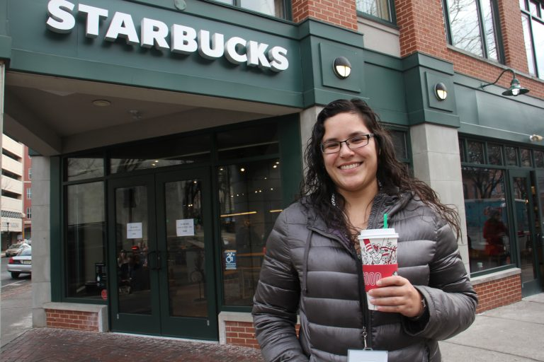 The new Starbucks on South Warren Street in Trenton is a big hit with state workers like Gemma Navarro.