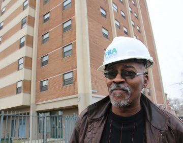 Rupert Alston, head of the residents council at the Blumberg senior high rise in Sharswood, attends the groundbreaking for renovations to the 13-story apartment building.