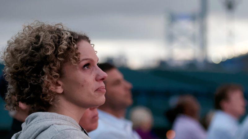 Overdose victims are remembered during the Regional Candlelight Vigil on October 14, 2017 at Camden Waterfront Stadium. (Bastiaan Slabbers for WHYY)