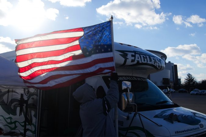 Fans set up to tailgate ahead of the Raiders vs. Eagles Christmas Day game, at the Lincoln Financial Field.