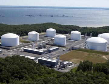 This photo shows Dominion Resources Cove Point terminal in Maryland. It has completed its conversion from a gas import facility to an export terminal to ship Marcellus Shale gas to Asia. In December, it received its first natural gas shipment, which will need to be liquefied before being loaded onto a tanker.