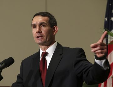 Pennsylvania Auditor General Eugene A. DePasquale, speaks after he was sworn in for his second term at the Capitol in Harrisburg, Pa., Tuesday, Jan. 17, 2017.