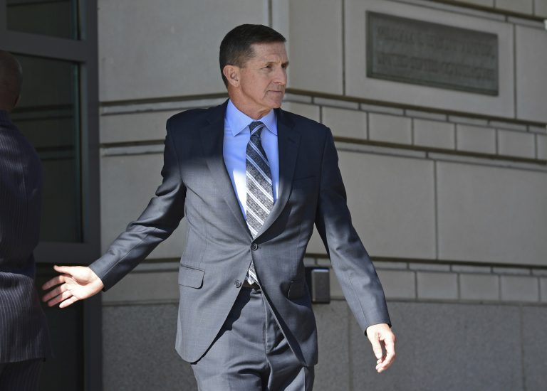 Former Trump national security adviser Michael Flynn leaves federal court in Washington, Friday, Dec. 1, 2017. Flynn pleaded guilty Friday to making false statements to the FBI, the first Trump White House official to make a guilty plea so far in a wide-ranging investigation led by special counsel Robert Mueller.
