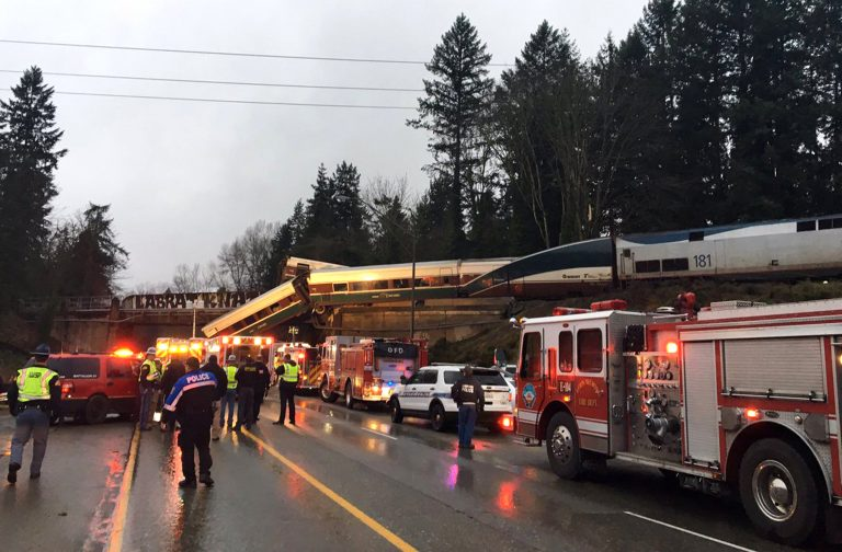 This photo provided by Washington State Patrol shows an Amtrak train that derailed south of Seattle on Monday, Dec. 18, 2017. Authorities reported